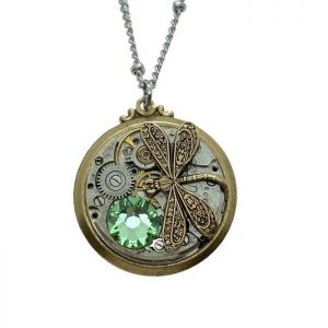 Dragonfly with Peridot Crystal