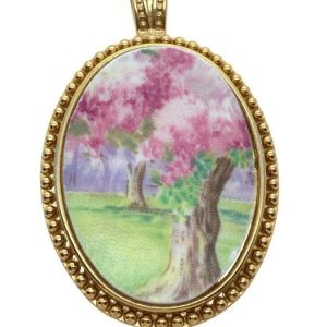 Blossom Time Broken China Pendant