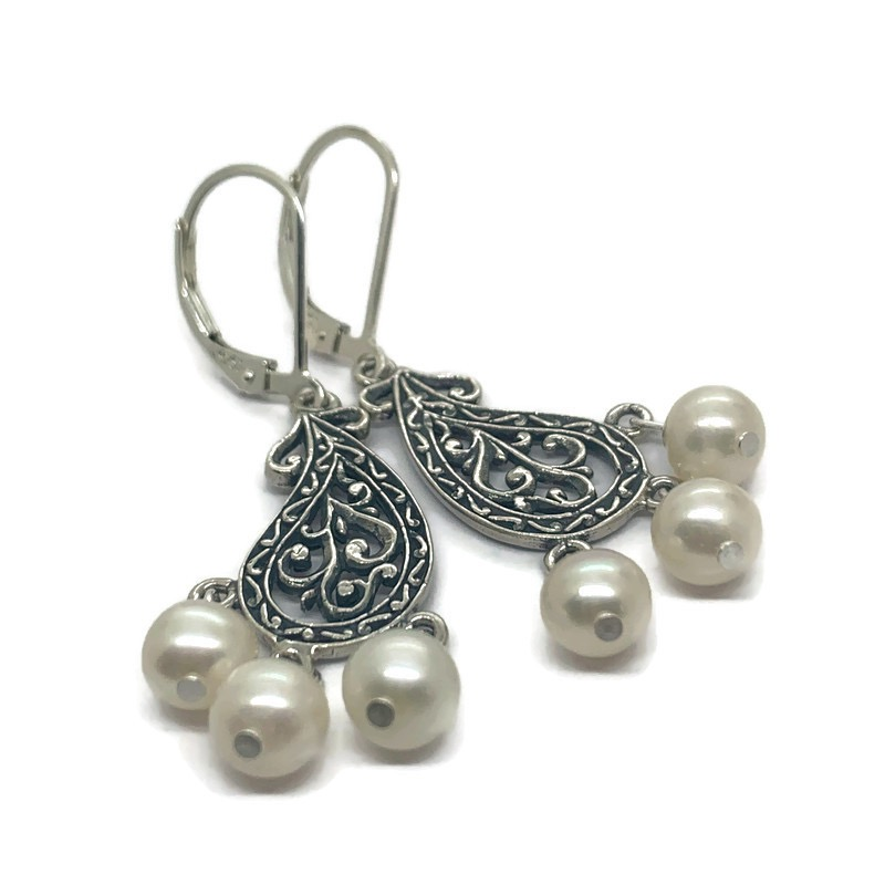 Sterling Earrings with Cultured Pearls
