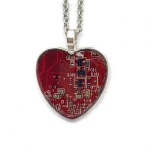 Circuit Board Heart Pendant