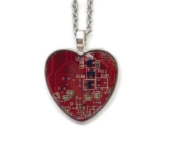 Circuit Board Heart Pendant