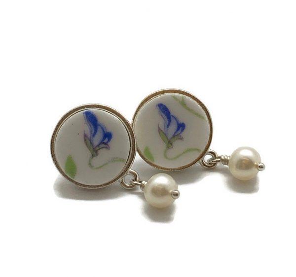 Blue Pansy Stud Earrings