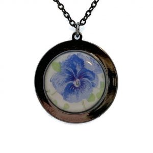 Blue Pansy Broken China Pendant