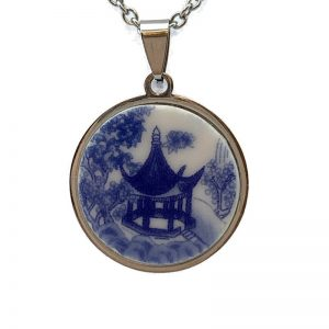 Blue Willow Pagoda Pendant