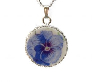 Blue Pansy Necklace