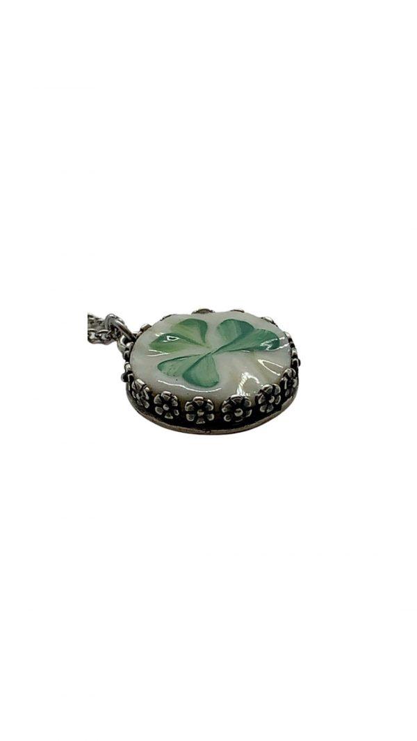Dainty Shamrock Broken China Necklace